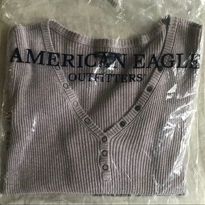 American Eagle Outfitters Tops - *Sold* Cotton Ribbed Snap Henley Pullover